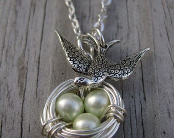 Wire Wrapped Bird's Nest Necklace with Pearl Eggs