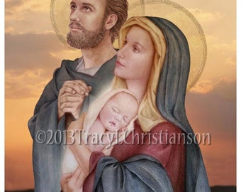 The Holy Family, St. Joseph, Virgin Mary and Infant Jesus Catholic Print (C) #4018