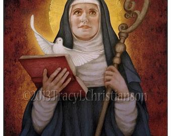 St. Scholastica Art Print, Catholic Patron Saint #4165