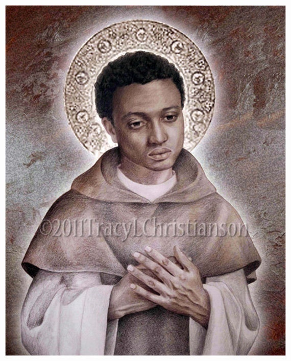 st martin de porres art print catholic patron saint 4137. Black Bedroom Furniture Sets. Home Design Ideas