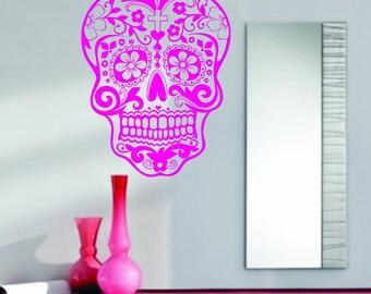 Pink Sugarskull Wall Vinyl Decal Sticker  Sticker Sugar Skull