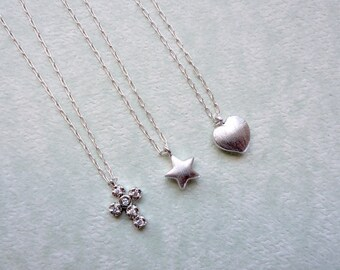 Tiny charm necklace, Sterling silver chain, Minimal silver necklace, Valentines day jewelry