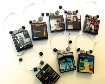 Billy Joel Album Covers Scrabble Wine Glass Charms