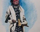 Native American Cree Warrior- 8x10 Fine ARt Print from a Pen and Ink Hand coloured original