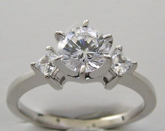 Vintage Diamond Engagement Ring 14K White Gold TDW  0.45 Ct., Made In The USA