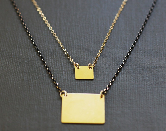 Long Gold Square Necklace - Faceted Brass Chain