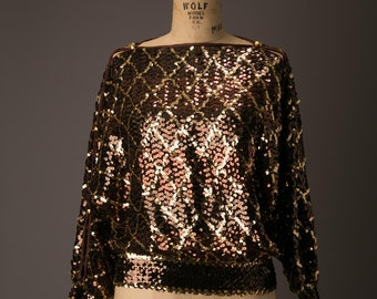 1980s Brown and Gold Sequin Party Blouse