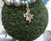 Special Order for Lynette Wood. Looking For Alice, Glass Pearl Beaded Bracelet with Rabbit Charm.