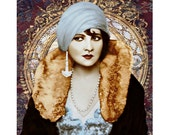 1920's fashion goddess, digital print, vintage art print, photomontage, modern art, fine art, art deco flapper, home decor, 1920 s print