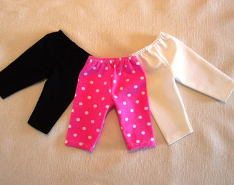3 American Girl Doll Clothes 18 inch Dolls Set of 3 Leggings, Capri Length Stretch Pants For American Girl Doll and Similar Dolls.