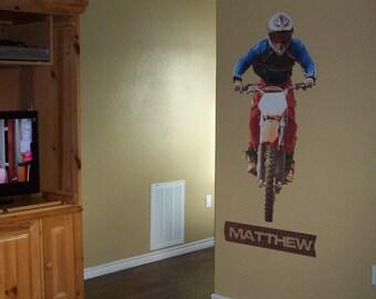 Dirt Bike Wall Decal, Dirtbike, Motorcross, Motorcycle Sticker, Decals