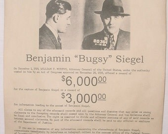 Set of 5 Gangster Wanted Posters, Barker-Karpis Gang, Bugs Moran, Bugsy Siegel, Lucky Luciano, Pretty Boy Floyd, prohibition