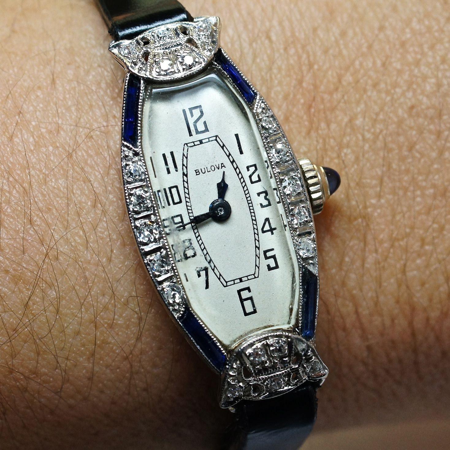 Vintage Ladies Platinum Bulova Watch with Diamonds and