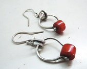 Sterling silver red coral dangle earrings. Handmade Metalwork. Ready to ship.
