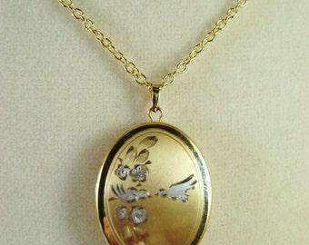 Vintage 14K Gold Filled Lovebird  Locket