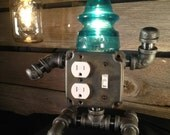 Robot USB Phone Charger Insulator Lamp.  T.Ed gets the Rustic treatment