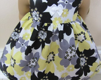 Free Shipping on all US orders! 18 inch doll clothes made to fit american girl dolls, yellow, grey and black floral sleeveless dress