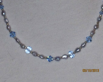 Light Blue Pearl and Crystal Artisan Necklace