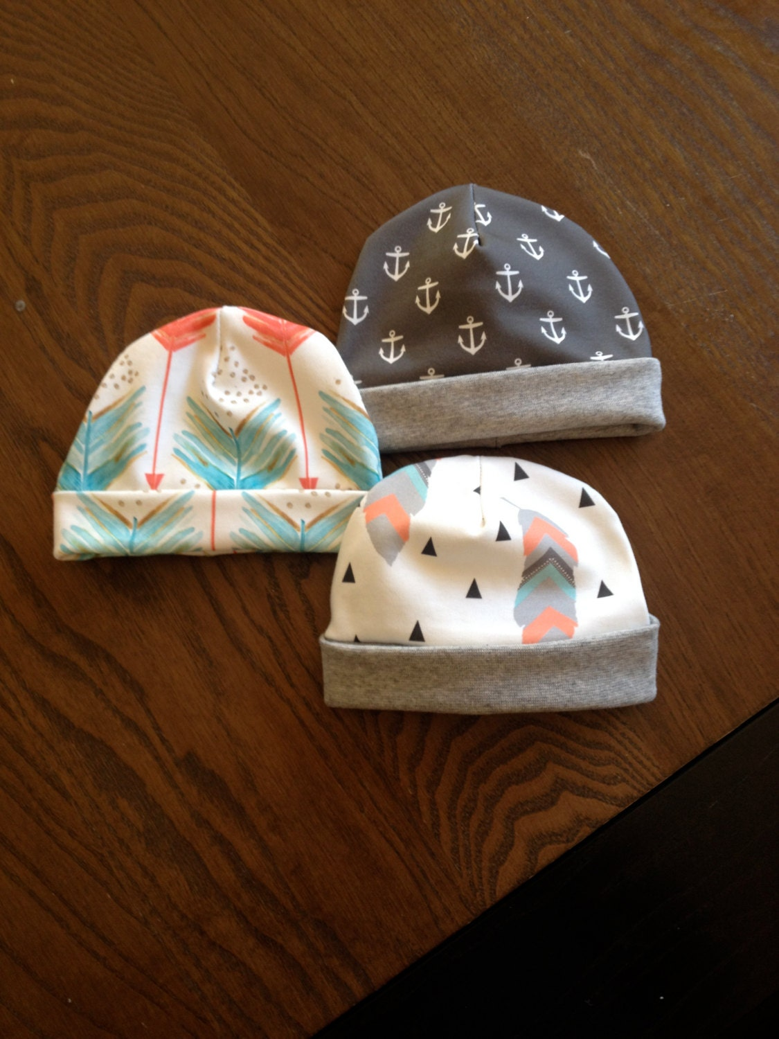 Organic Cotton Fold Over Beanie For Kids And Babies Printed