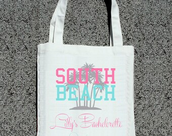 Miami South Beach Custom Bachelorette Party Totes- Wedding Welcome Tote Bag