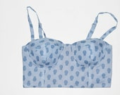 Blue Pineapple  print  adjustable cup less corset for one juicy mama!