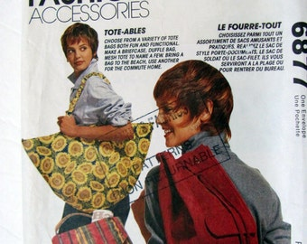 Mccalls 6877, Totables sewing Patterns, Fun and Functional Tote Bag Patterns, Duffel Bag, beach Bag