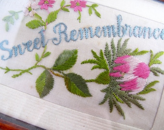 Vintage Sweet Remembrance Postcard, Beautiful Silk WW1 Hand Made Card