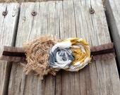 Fall-inspired Rosette-trio Headband with Burlap