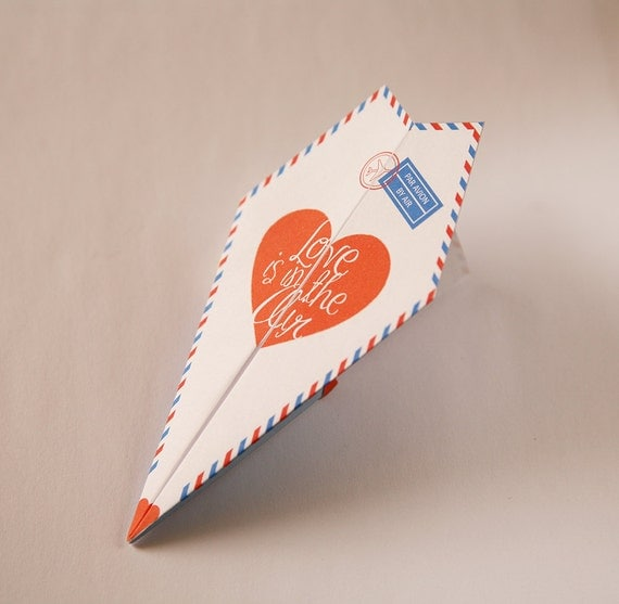 Printable Paper Airplane Valentines / Anniversary Card