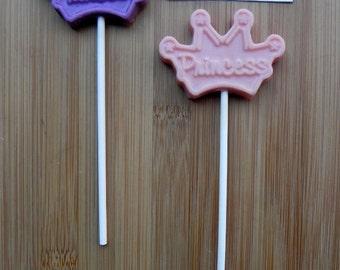 PRINCESS CROWN Chocolate Pops (12) - PRINCESS Birthday/Princess Favors