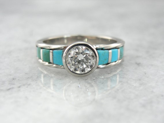 RESERVED - Down Payment - Unusual Handcrafted Turquoise and Fine Diamond Engagement Ring PKNVC2-N