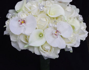 Silk Wedding Bouquet with Off White Roses, Orchids and Callas - Natural Touch Silk Flower Bride Bouquet - Almost Fresh