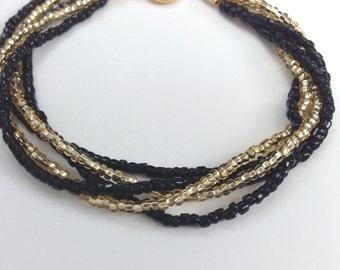 Black seed bead bracelet, black and gold bracelet, beaded bracelet, seed bead bracelet, elegant bracelet, gold bracelet, multistrand
