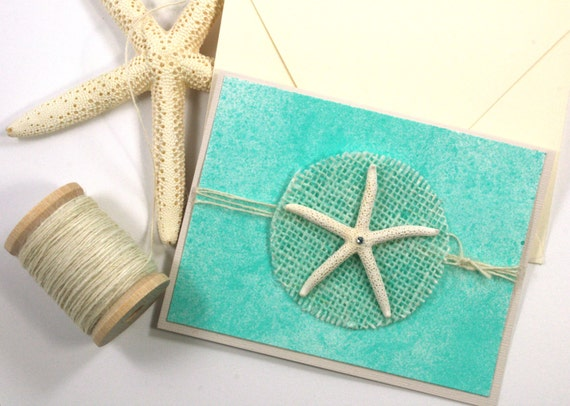 Blank Beach Greeting Card with Starfish on Turquoise Blue Background