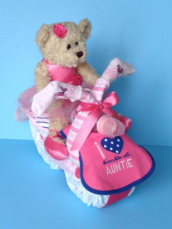 Ballerina Teddy Diaper Motorcycle - Girl Diaper Cake - Diaper Bike - Pampered Baby Creations