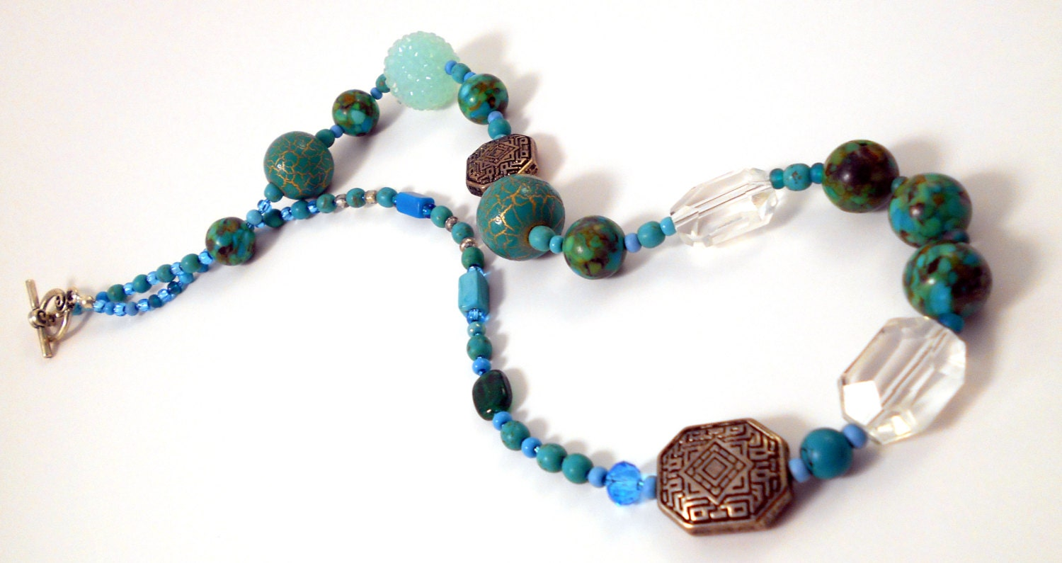 Mosaic Turquoise Beaded Necklace By Dcjtreasuretrove On Etsy