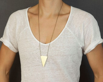 Long Statement Necklace, Triangle Necklace / Geometric Long Necklace / Choose your length / The WARRIOR Necklace by Bohemian Fringe