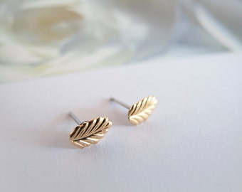 Tiny Gold Leaf Stud Earrings - Hypoallergenic Surgical Steel Posts