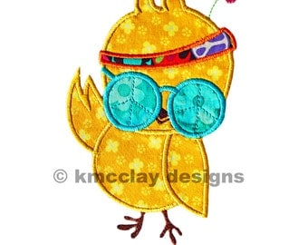 Original Hippie Chick applique. Machine Embroidery Applique Design. Instant Download. 4x4 and 5x7