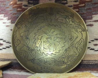 "Large Solid Brass Bowl Made in China  Has Dragon Decoration  10"" diameter   Approx 2"" tall"