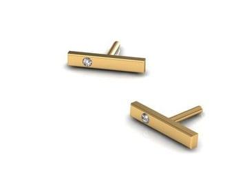 Tiny 14K Yellow Bar earrings with White Diamonds