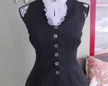 The Lord Byron Vest: Upcycled Steampunk Corset Back Vest with Starched Collar and Vintage Pin in Women's Size SMALL/MEDIUM