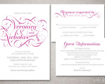"Modern Flourish ""Veronica"" Wedding Invitation Suite - Whimsy Script Calligraphy Invitations - DIY Digital Printable or Printed Invite"