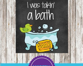 Splish Splash I was takin a bath kids bathroom 8x10 printable - INSTANT DOWNLOAD