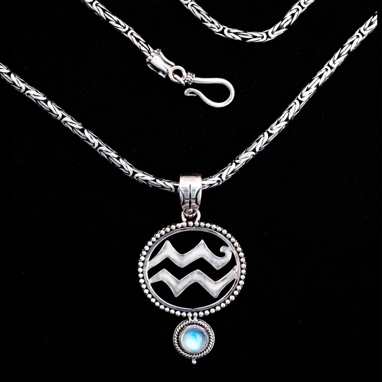 sterling silver aquarius necklace aquarius