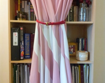 Vintage/Retro Pink and White Striped Dress with A-Line Skirt, Lightweight, Swingy