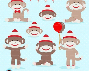 SOCK MONKEY Digital clipart, Red Monkey Clip art, Cute sock monkey Clipart for personal and commercial use, Instant download