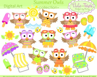 Summer Owl Clip Art Beach Owl clip art vacation clipart cute owl clip art Digital Download Instant Download Commercial Use