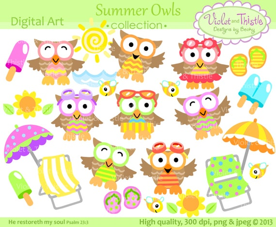 Summer Owl Clip Art Beach Vacation Clipart Cute Digital Download Instant Commercial Use