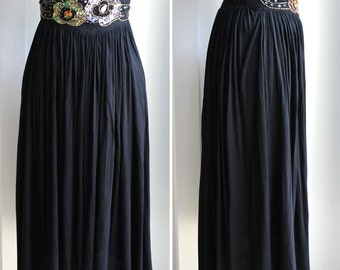 Black Embellished Knit Maxi Skirt by Western Connection size small